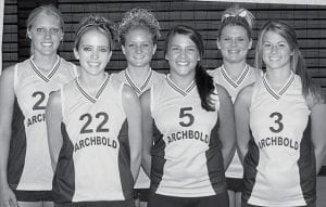 The Archbold High School volleyball team has six letterwinners back for the 2007 season. From left: Dani Newman, Lauren Kern, Adrianne Lange, Kenzie Frank, Stacy Wyse, Laura Wyse.- photo by  Mary Huber