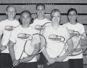 Five letterwinners return on the Archbold High School girls tennis team. From left: Kate Friesen, Emily Fredrick, Rachel Krueger, Nicole Short, Audri Rodriguez.- photo by Mary Huber