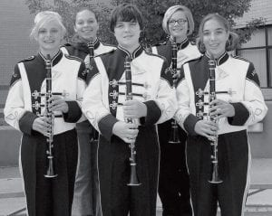 Clarinets Front row, from left: Emily Grisier, London Smith, Emily Fredrick. Second row: Angela Bumgardner, Heather Sears.