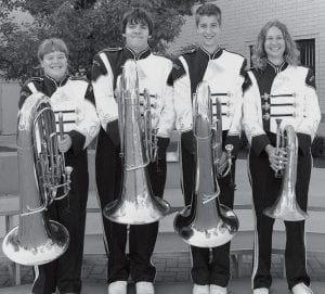 Low Brass From left, Amy Christman, Taylor Rupp, Jacob Gobrogge, Kelcey Frank.