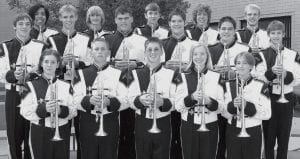 Trumpets Front row, from left: Mary Lee Sauder, Chase Grieser, Seth Nofziger, Laura Bowman, Ashley Davis. Second row: Travis Roehrig, Micah Grime, Ben Miller, Justin Hines, Lance Macdonald, Matthew McCoy. Third row: Manny Rodriguez, Eric McCoy, Jared Hite, Stewart Nafziger, Michael Volkman.
