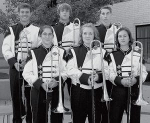 Trombones Front row, from left: Becca Smith, Jen Lindsay, Claire Graber. Second row: Jackson Beck, Jarrett Yoder, Chris Jennings.