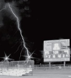 It was lightning, not a funnel cloud, that caused a delay in the Archbold Fairview football game, Friday, Sept. 7. Jaycee Riley, Archbold, captured this picture of a lightning bolt streaking toward the ground near the new Archbold football stadium. A blue streak for the Blue Streaks?- courtesy photo