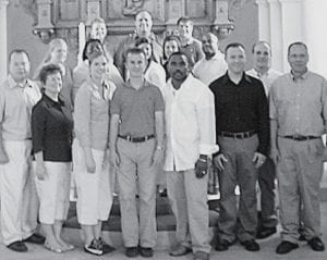 Kent Vandock, Archbold High School choral music director, front row, center, along with members of a Bowling Green State University alumni chorale who traveled to perform in Sweden in July. Several family members accompanied the chorale. The group had an opportunity to sample Swedish culture. To the left of Vandock is his wife, Danielle.- courtesy photo