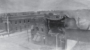1912 fire damage on east side of North Defiance St., Archbold.- courtesy photo