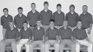 Members of the AHS golf team are, sitting from left: Tyler Bernath, Jacob Nafziger, Joey Schroeder, Steve Nafziger, Andre Hurst, Steven Kinsman. Standing: Zachary Grosjean, Jackson Beck, Micah Grime, Jayson Lindsay, Tyson Bostelman, Jarrett Yoder, Kevin Miller, coach.