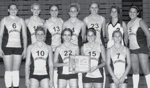The Blue Streaks won the Streak Spike-Tacular invitational tournament title at AHS, Saturday, Sept. 29. With the championship plaque are, front row, from left: Stacy Wyse, Lauren Kern, Melinda Sauder, Deena Cowell. Back row: Molly Arnold, Emily Snyder, Devin Newman, Adrianne Lange, Dani Newman, Laura Wyse, Kenzie Frank.-  photo by Scott Schultz