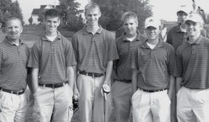 Members of the Archbold golf team who participated in the district meet were, from left: Kevin Miller, AHS coach; Jacob Nafziger; Micah Grime; Tyler Bernath; Steve Nafziger; Tyson Bostelman; Steven Kinsman.- photo courtesy Jeff Bostelman