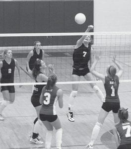 Haley Nofziger (7) sends a spike over the net for the Blackbirds in the Div. IV district final at Napoleon High School. Pettisville won the first game, but lost the last three to undefeated Edon, who advanced to the regional semifinal with Marion Local.- photo by Scott Schultz
