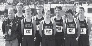 Members of the Pettisville boys cross country team who participated in the Div. III state meet are, front row from left: Tom Wagner, coach; Brandon Hamilton; Lincoln Frey; Jacob Nofziger. Back row: Josh Bruner, Austin Borton, Josh Villalovos, Alex Frey.- photos by D.J. Neuenschwander