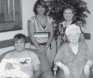 Five generations of Nelsons gathered recently at Fairlawn Haven, Archbold. Mrs. Arlene Nelson, 91, is surrounded by her great-grandson, Shane Tyda, Bowling Green, holding her great-great-grandson, Brandon Tyda, three months; granddaughter, Dawn Tyda, Bowling Green; and daughter, Esther Borton, Archbold.- courtesy photo
