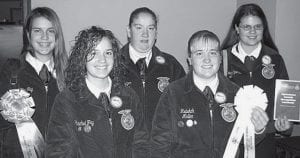 Attend Luncheon At FFA Convention Pettisville FFA members attending the luncheon for the National AgriScience Fair were, front row from left: Rachel Fry, Rebekah Meller. Back row: Lynae Fry, Vicki Nofziger and Krista Spiess. Meller received a third-place ribbon and L. Fry, a participation ribbon. All five are working on agriscience fair projects for the 2007-08 school year.- courtesy photo