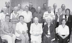 The Pettisville Class of 1952 held its 55th reunion the weekend of Sept. 22. Front row, from left: Evelyn Wyse, Marcile Nofziger, Clemma Stuckey, Irma Kauffman, Shirley Short. Second row: Glenda Mast, Marilyn Kay, Wes Wyse, Merle Frey, Ralph Bruner, Mary Clair, Rosetta Gorsuch. Third row: Ralph Gasche, Ervin Miller, Orville Sauder, Marlin Miller, John Rychener, Dale Klopfenstein.- courtesy     photo
