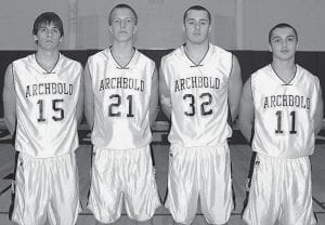 Four letterwinners return for the Blue Streak boys basketball team. From left: Justin Rupp, Trey Smith, Gene Goering, Colton Martinez.-  photo by Mary Huber