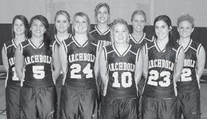 The AHS girls basketball team returns nine letterwinners this season. Front row, from left: Kenzie Frank, Stacy Wyse, Bri Wyse, Andrea Allan. Back row: Laura Wyse, Devin Newman, Hailey Galvan, Dani Newman, Adrianne Lange.- photo by Mary Huber
