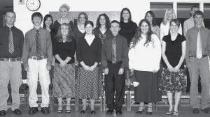Sixteen students were inducted into the Pettisville chapter of the National Honor Society during a ceremony Monday, Nov. 19. Front row, from left: Lucas Nofziger, Sky Hernandez, Rebekah Meller, Bethany Hartz, James Baatz, Rebekah Titus, Nichole Stetten, Jordan Klopfenstein. Back row: Yu Lin Lin Huang, Alyssa Beck, Breanna Holsopple, Rachel Fry, Keely Geringer, Karina Rohrer-Meck, Alexa Short, Tim Spiess. - photo by D. J. Neuenschwander