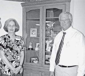 Nancy VanSkoder, coordinator for the Fairlawn Haven Special Care Unit, and Steve Ringenberg, Fairlawn executive director, with one of the special