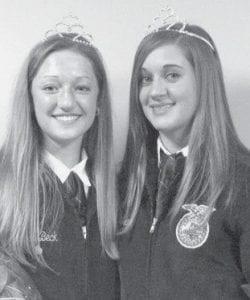 Hannah Beck, left, 2007-2008 FFA sweetheart, with Katie Weber, new 2008-2009 FFA sweetheart.-  courtesy photo