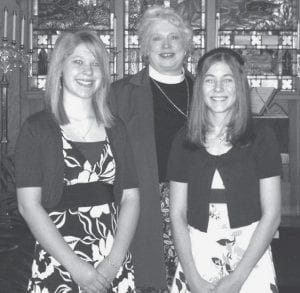St. Peter Evangelical Lutheran Church, Ridgeville Corners, celebrated confirmation at the 10 a.m. worship service, Sunday, March 16. Katie Arps, left, and Chelsea Goebel were confirmed by Vicky Coombs, pastor.- courtesy photo
