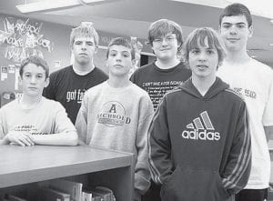 The Archbold Middle School had three eighth grade students and three seventh grade students place in the Greater Toledo Council of Mathematics math contest in Defiance. Seventh grade students who placed are, front row from left: Ryan King, 13th; Bryce Tinsman, 8th; Seth Yoder, 6th. Eighth grade students, back row: Caleb McQuillin, 7th; John Hartman, 15th; Chan Tinsman, 2nd.- courtesy photo
