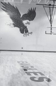 A giant eagle mural dominates one wall of the gym at the new Gorham Fayette School. The building, which was built with about 80% state funding, is about 85% complete. Students will attend the new school next fall.- photo by David Pugh