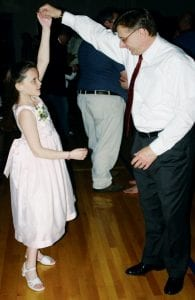 Chris Montalbine, Archbold, twirls his nine-year-old daughter Alyssa across the dance floor at Archbold High School, Friday, April 18, during a father-daughter dance. Elementary and middleschool age girls and their fathers enjoyed a special time together, dancing to music.- photo by David Pugh