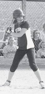 Katie Weber waits for the pitch in Pettisville's BBC game with Fayette, Thursday, April 17. She went 2/4 at the plate with 2 RBIs.- photo by Scott Schultz