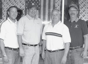 Officers of the Sons of the American Legion, Squadron 311, which formed recently in Archbold, are, from left: Jeff Forward, adjutant; Bob Liechty, squadron vice commander; Andy Dominique, squadron commander; and Brad Enderle, sergeant at arms. The group is for sons, stepsons, grandsons, and great-grandsons of veterans of the United States Armed Forces. Its purpose is to support the American Legion.- photo by David Pugh