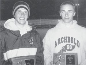 From left, Archbold's Michael Volkman was named Outstanding Distance Runner and Garrett Waidelich, Outstanding Sprinter at the Walker/Dilbone Varsity A Relays, Friday, May 2.- courtesy photo