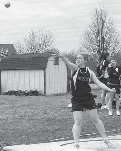 Jordyn Brakefield finished fourth in the shot put in Pettisville's quad meet with Lenawee Christian, Stryker, and Hilltop.- photo by D.J.  Neuenschwander