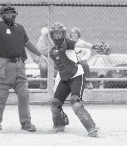 Pettisville catcher Erica King throws to first base in the Birds' contest with Hilltop.- photo by Scott Schultz