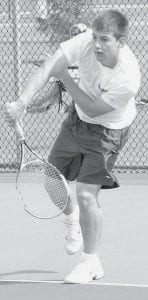 Jackson Beck advanced to the quarterfinals of the Div. II district tennis tournament, where he was defeated by a player from Ottawa Hills.- photo by Scott Schultz
