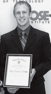 Levi Rupp, Archbold, with the Chemistry Award he received.-  courtesy photo