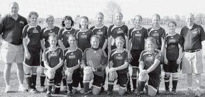 Members of the U-14 girls soccer team are, front row from left: Sierra Nofziger, Mindy Rupp, Megan Arend, Carly Wyse, Ruthie Beck. Back row: Vaughn Bentz, coach; Gabrielle Deskins, Hanna Allison, Krista Leupp, Meggie Yoder, Kassidy Garrow, Cassidy Wyse, Jesse Fidler, Becca Gerig, Lauren Kindinger, Skip Leupp, coach.- courtesy photo