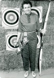 Gertrude Hitt, in a photo taken when she was active in archery. Her husband, Bud, manufactured bows until 1975 or 1976; now the retired 83-year-old Bud makes golf clubs. Gert admits that even today, at 80 years of age, she still occasionally