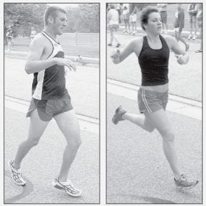 Darin King, left, had knee surgery only two months ago but still won his second straight Run for the Lights 5K race, Saturday, July 19. He is a 2006 AHS graduate. Audra Brown, Defiance, right, won the women's race.-  photos by David Pugh