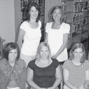 New teachers join the staff of Archbold Area School District. Front row, from left: Jenn Burkholder, kindergarten; Dustie Brubaker, first grade; Jen Hurst, second grade. Back row: Courtney Bowers, special education, middle school; and Mandy Eigensee, special education, elementary school. Not pictured: Kelly Kruse, first grade; Amy Johnson, freshman science, half-time; and Jen Buchhop, high school special education.- photo by David Pugh
