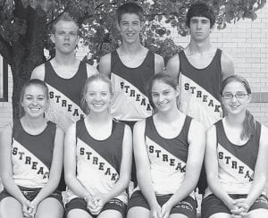 Three letterwinners return on the AHS boys cross country team while four return for the girls. Front row, from left: Jackie Bell, Laura Bowman, Amanda Storrer, Paige Price. Back row: Michael Volkman, Jacob Gobrogge, Justin Storrer.-  photo by Mary Huber