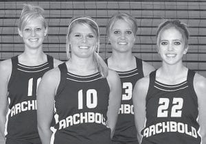Letterwinners on the AHS volleyball team are, from left: Emily Snyder, Stacy Wyse, Devin Newman, Lauren Kern.-  photo by Mary Huber