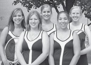 Returning letterwinners on the AHS girls tennis team are, from left: Jessanna Buschur, Nichole Short, Rachel Krueger, Emily Fredrick, Kate Friesen.-  photo by Mary Huber