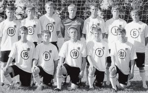 Returning letterwinners on the PHS soccer team are, front row from left: Brian Plank, Zach Waidelich, Zane Miller, Philip Roth, Kyle Graber. Back row: Jeremy Rupp, Isaac King, Jordan Lemley, Andy Switzer, Jordan Klopfenstein, Quinn Nofziger, Clay Norris.-  photo courtesy A New Image Photography