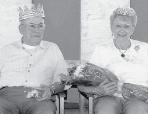 Melvin (Babe) and Pauline Jones, Fayette, are the 2008 Fulton County Fair Golden Wedding Party king and queen.- photo by Mary    Huber