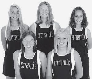 Above: letterwinners on the Pettisville girls cross country team are, front row from left: Jackie Morrill, Alexa Short. Back row: Rachel Beck, Kayla King, Taylore Lantz. At right, PHS boys cross country letterwinners are, front row from left: Brandon Hamilton, Lincoln Frey. Back row: Harris King, Austin Borton. Absent: Trevor Lantz and Jacob Nofziger.-  photos courtesy        A New Image Photography