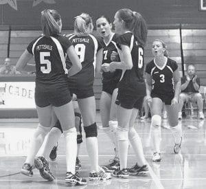 Celebrating a Pettisville point are Katie Weber (5), Stephanie Yoder (9), Haley Nofziger (7), Chelsea Schmucker (6), and Tessa Yoder (3).-  photo by Scott Schultz