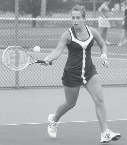 Jessanna Buschur returns a forehand during AHS tennis action this season.-  photo by Scott Schultz