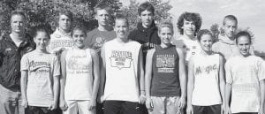 The Pettisville boys and girls cross country teams advanced to the Division III regional meet in Tiffin with fourth-place finishes at district, Saturday, Oct. 18. Front row, from left: Taylore Lantz, Brady Avina, Jackie Morrill, Rachel Beck, Lexie King, Tanner Hostetler. Back row: Tom Wagner, coach; Quinn Nofziger, Austin Borton, Aaron Bruner, Chris Matthews, Lincoln Frey. Absent: Kayla King, Alexa Short, Erin Fricke, Brandon Hamilton, Harris King, Trevor Lantz, Zach Davis, Zach Pursel.