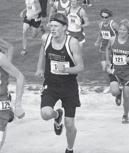 In his second straight appearance at the Div. III state cross country meet, Austin Borton, a PHS senior, finishes 41st and was named All- Ohio.-  photo by Marty Rupp