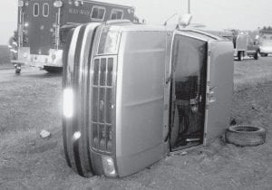 Lorena Gonzalez, 34, Fayette, was cited for driving without reasonable control after her pickup went out of control on ice on Co. Rd. H and crashed into a field Monday morning, Nov. 24. The Ohio State Highway Patrol report said the crash occurred west of Co. Rd. 23. Archbold Rescue responded; Gonzalez was treated and released at Archbold Hospital.-  photo by David Pugh