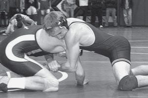 Chad Rufenacht, right, shown in action against Wauseon on Dec. 18, was named Most Valuable Wrestler in the upperweight classes at the Vermillion Duals last weekend.-  photo by Scott Schultz
