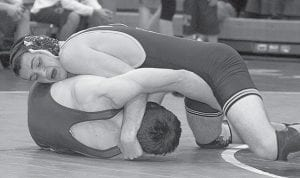 In an NWOAL wrestling match with Evergreen and Liberty Center, Thursday, Jan. 8, Zach Driver pinned his Viking opponent in the 152- pound weight class.-  photo by Scott Schultz